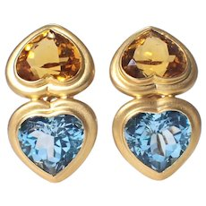 18k Yellow Gold Citrine and Blue Topaz Earrings.
