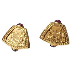 Etruscan Style 18k Yellow Gold Ruby and Sapphire Earrings