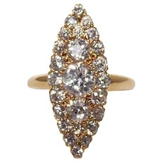 Antique Tiffany & Co. 18k Yellow Gold Diamond Navette Ring