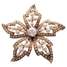 Antique 14k Yellow Gold Diamond and Seed Pearl Pin/Pendant
