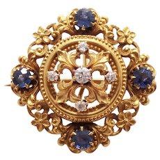 Edwardian 14k Yellow Gold Sapphire and Diamond Pin/Pendant
