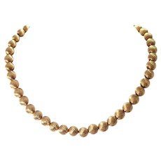 1970s 14k Yellow Gold Bead Necklace