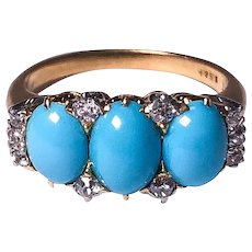 Antique Black Star & Frost 18k Yellow Gold Turquoise and Diamond Ring