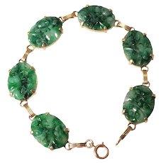 1930s 14k Yellow Jade Bracelet