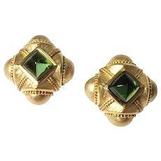 18k Yellow Gold Tourmaline Earrings