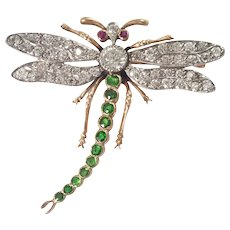 Antique 18k Yellow Gold and Platinum Diamond, Ruby, and Demantoid Garnet Dragonfly Brooch