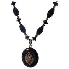 Victorian 14k Yellow Gold Onyx and Diamond Necklace/Locket