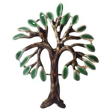 Mid-Century 14k Yellow Gold Enamel Tree Brooch