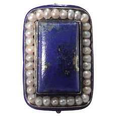 Antique 14K yellow Gold Lapis, Pearl and Enamel Ring