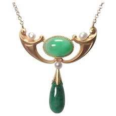 Arts and Crafts 14k Yellow Gold Jade and Pearl Necklace