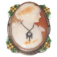 Art Deco 14K White Gold Diamond Cameo Brooch