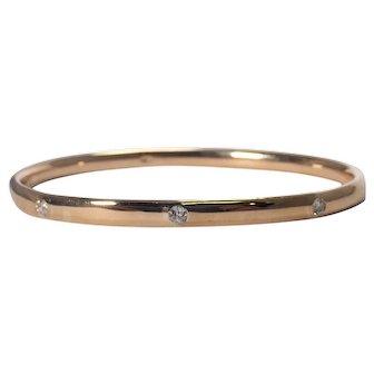 Antique 18K Yellow Gold Diamond Bangle Bracelet