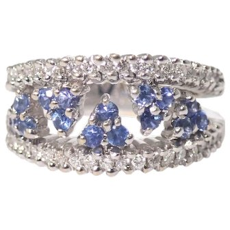 18K White Gold Sapphire and Diamond Band