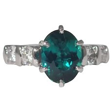 Platinum Tourmaline and Diamond Ring.