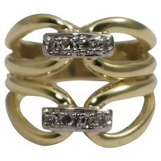 18k Yellow Gold Open Work Diamond Ring