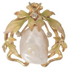 Art Nouveau 14k Yellow Gold Enamel, Pearl, and Diamond Pendant