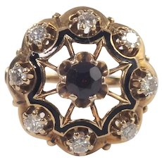 Mid-Century 14k Yellow Gold Garnet, Diamond, and Enamel Ring