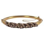 Mid-Century 14k Yellow Gold Seed Pearl Bangle Bracelet