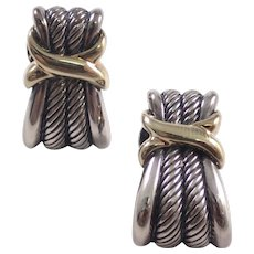 David Yurman Silver and Gold Earrings