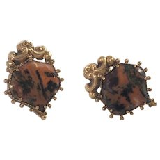 Antique Scottish 14 and 18k Yellow Gold Agate Earrings