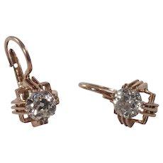 Antique 14k Rose Gold Diamond Earrings