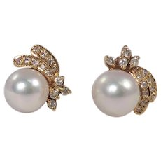 18k Yellow Gold Pearl and Diamond Earrings