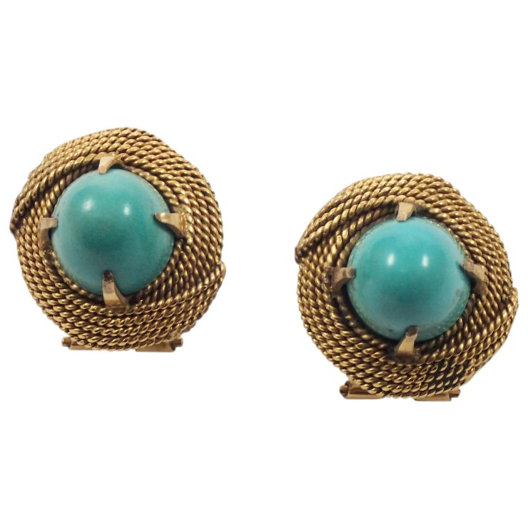 14k Gold Turquoise Earrings