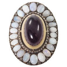 Victorian 14K Yellow Gold Garnet, Opal, and Diamond Brooch