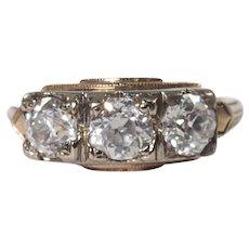 Retro 14K Yellow and White Gold Diamond Ring