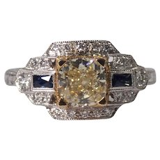18k White and Yellow Gold with Yellow Diamond and Sapphire Ring