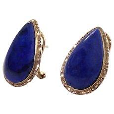 14K Yellow Gold Lapis Clip Earrings