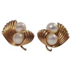 Mid Century Mikimoto 14K Yellow Gold Pearl Earrings