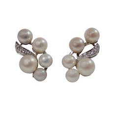 Mid Century 14k White Gold Pearl and Diamond Earrings