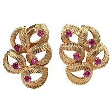 18k Yellow Gold Ruby Leaf Earrings