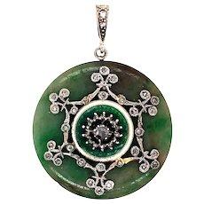 Edwardian Jade and diamond Enamel Pendant