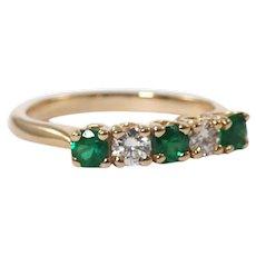 14k Yellow Gold Emerald and Diamond Band