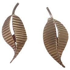 Retro 14k Yellow Gold Leaf Earrings