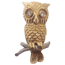 18k Yellow Gold Owl Brooch