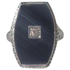 Art Deco 18k White Gold Onyx and Diamond Ring