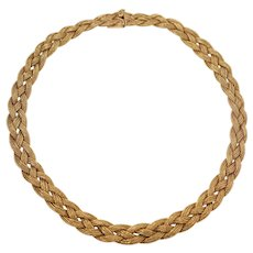 Retro 14k Yellow Gold Mesh Necklace