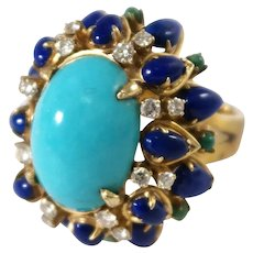 14k Yellow Gold Turquoise, Lapis, and Diamond Ring