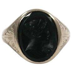 Art Deco 10K White Gold Bloodstone Intaglio Ring