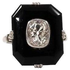 Art Deco Platinum Diamond and Onyx Ring