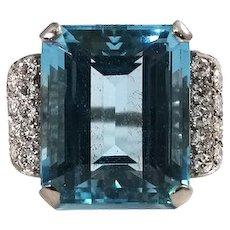 Mid Century Platinum Aquamarine and Diamond Ring