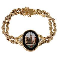 14k Yellow Gold Micro Mosaic and Diamond Bracelet