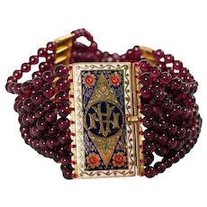 Antique 18k Yellow Gold Garnet and Enamel Bracelet