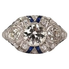 Art Deco Style Platinum Diamond and Sapphire Ring