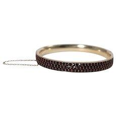 Antique Silver Garnet Bangle Bracelet