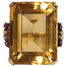 Retro 14k Yellow Gold Citrine and Ruby Ring