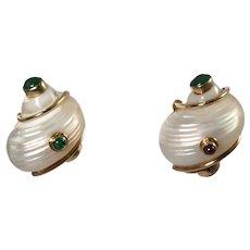 Seaman Schepps 14k Yellow Gold Shell Earrings